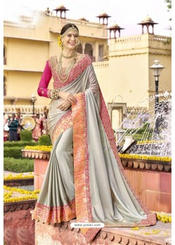 Classic Silver Embroidered Saree