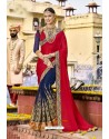 Marvelous Navy Blue Embroidered Saree