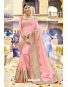 Traditional Pink Embroidered Saree