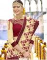 Unique Cream Embroidered Saree