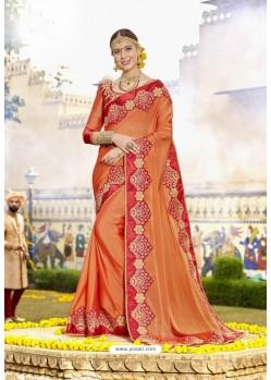 Awesome Orange Embroidered Saree