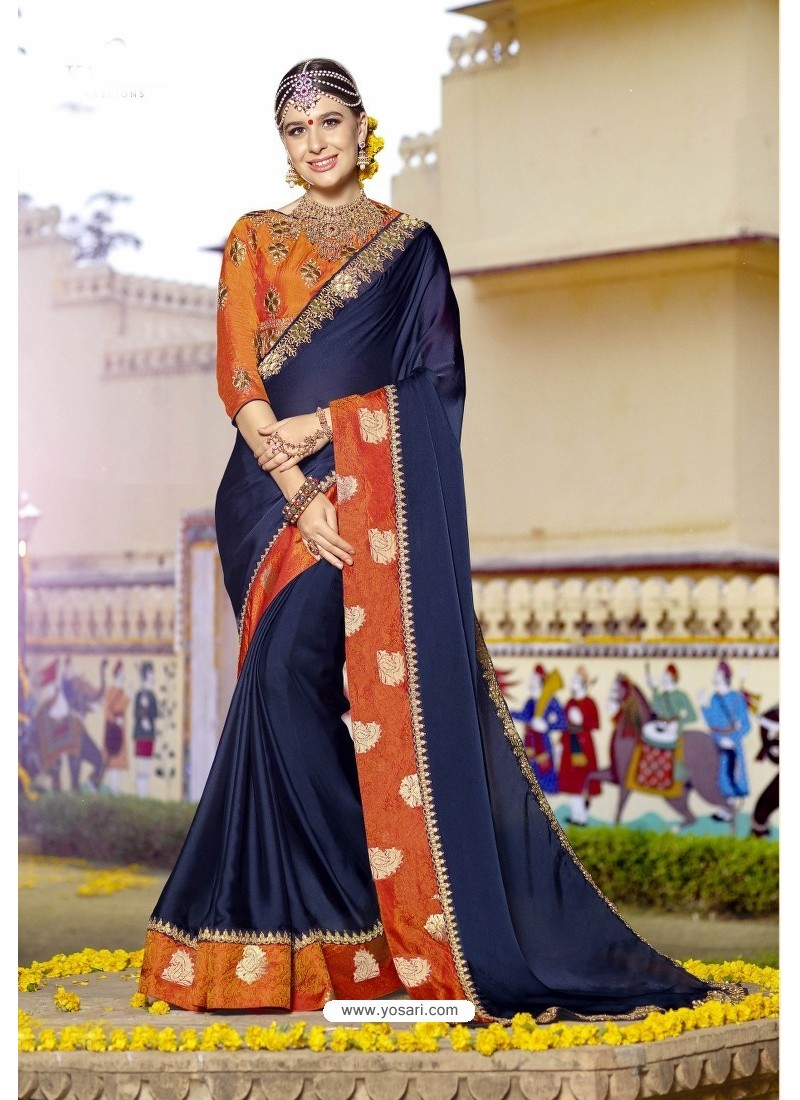 Affectionate Navy Blue Embroidered Saree