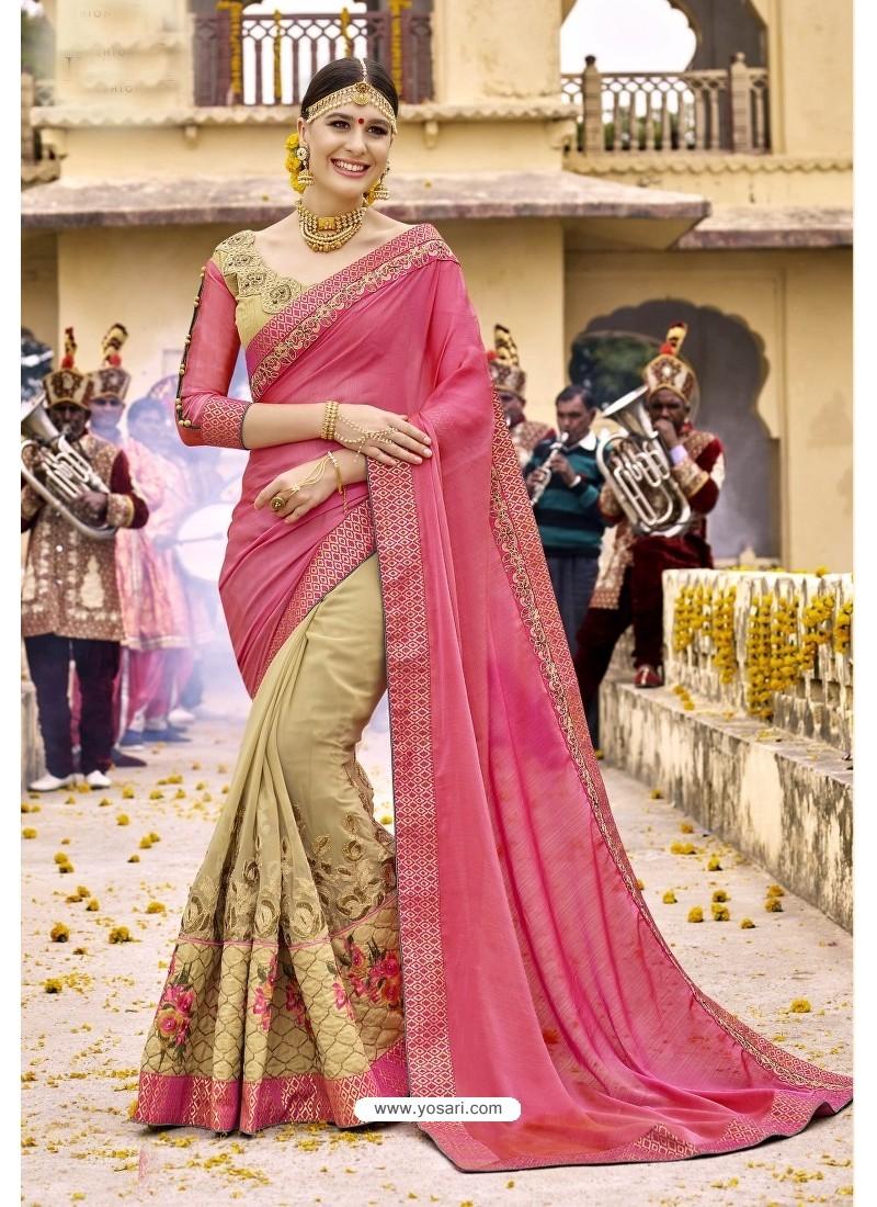 Designer Beige Embroidered Net Saree
