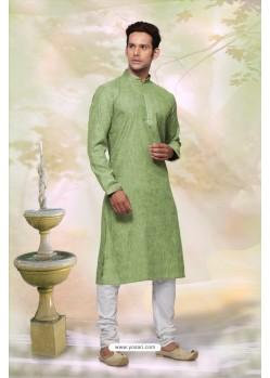 Stylish Green Cotton Kurta Pajama