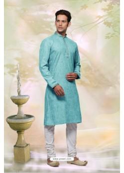 Excellent Turquoise Cotton Kurta Pajama