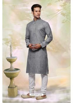 Grey Cotton Designer Kurta Pajama