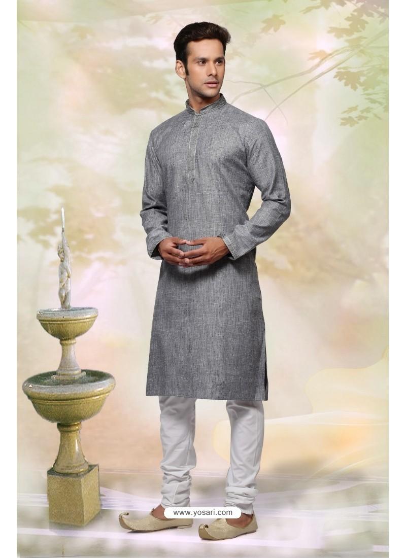 2d6c817d0f4e Buy Grey Cotton Designer Kurta Pajama