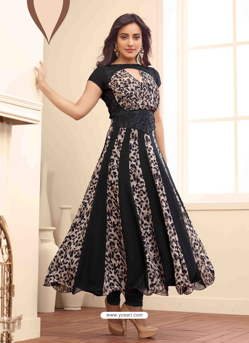 Black Embroidered Work Anarkali Suit