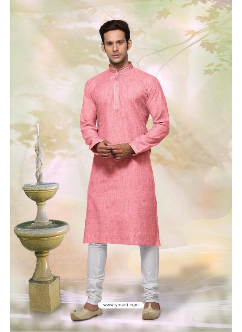 Classy Peach Cotton Kurta Pajama