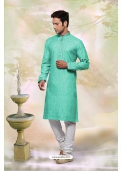 Adorable Sea Green Cotton Kurta Pajama