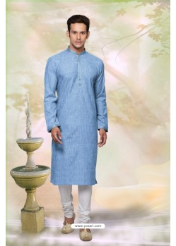 Trendy Blue Cotton Kurta Pajama