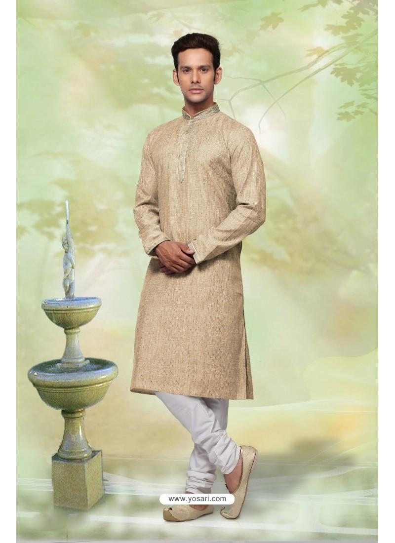 Superb Taupe Cotton Kurta Pajama