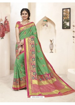 Traditional Green Banarasi Silk Saree