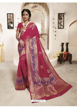 Adorable Maroon Banarasi Silk Saree