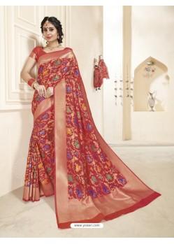 Red Banarasi Silk Designer Saree
