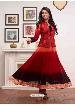 Orange Embroidered Work Anarkali Suit