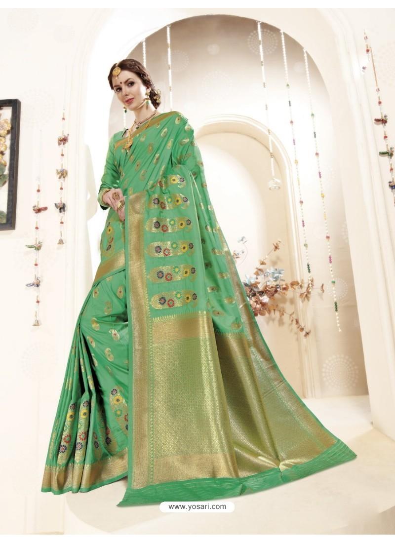 Awesome Green Banarasi Silk Saree