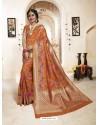 Impressive Orange Banarasi Silk Saree