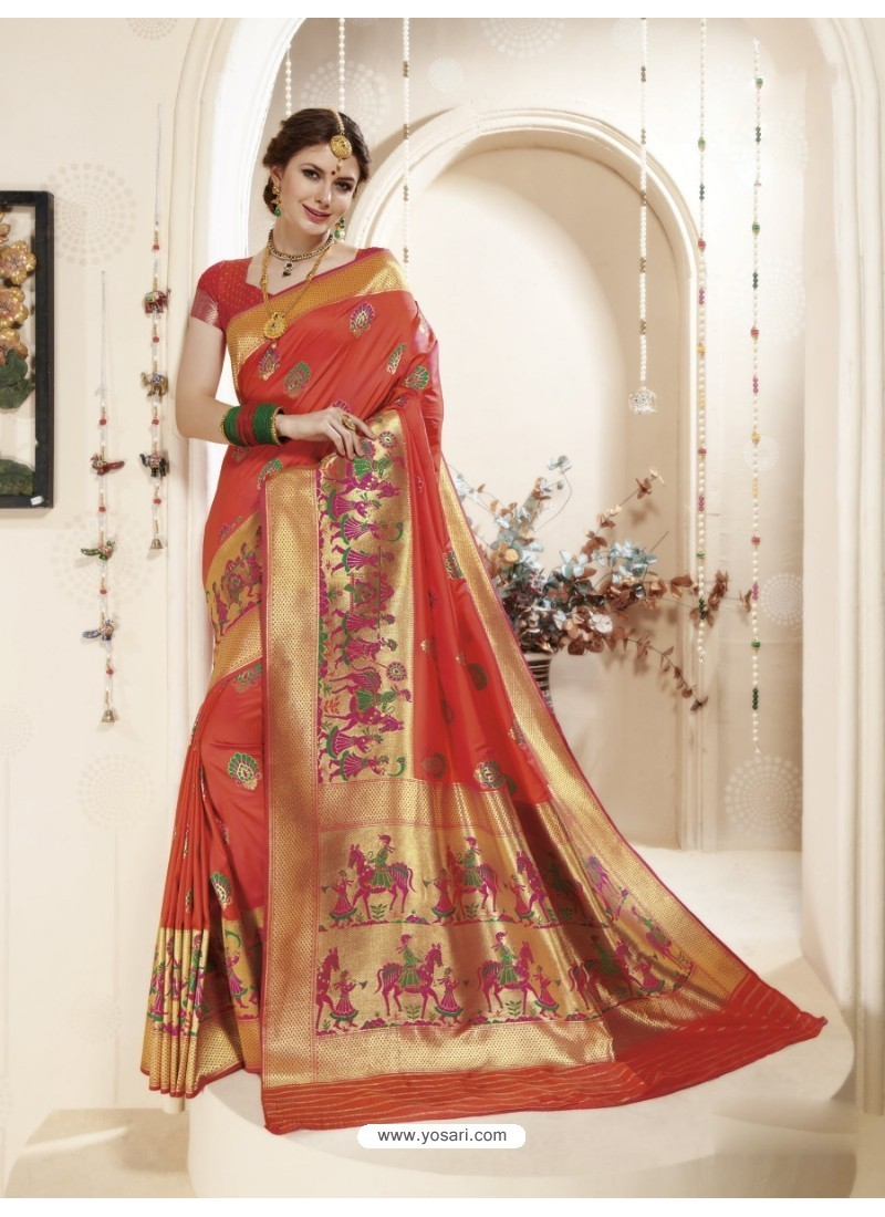 Marvelous Rust Banarasi Silk Saree
