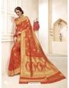 Traditional Orange Banarasi Silk Saree