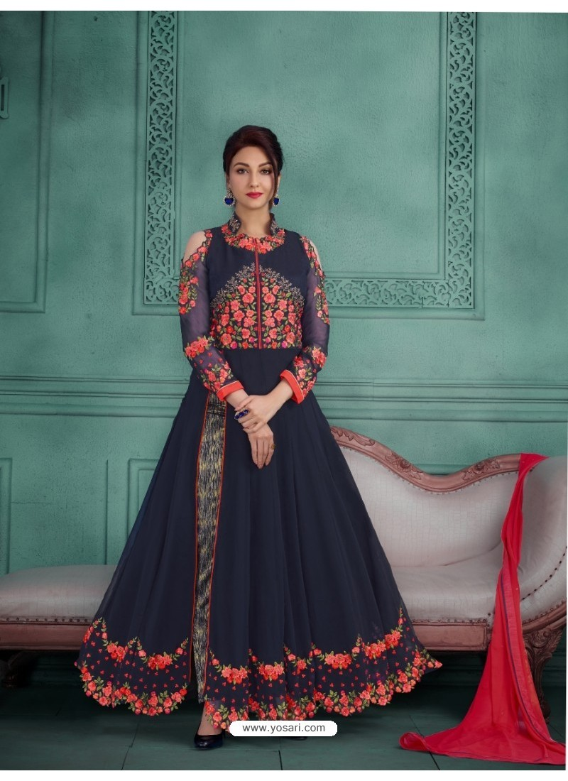 Amazing Navy Blue Georgette Embroidered Floor Length Suit