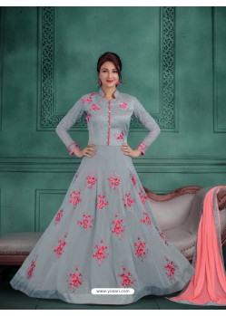 Ordinary Grey Georgette Embroidered Floor Length Suit