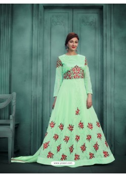 Adorable Sea Green Georgette Embroidered Floor Length Suit