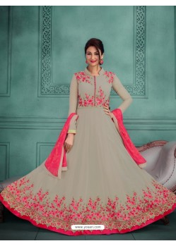 Modish Olive Green Georgette Embroidered Floor Length Suit