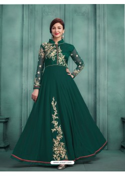Amazing Teal Georgette Embroidered Floor Length Suit