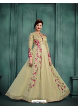 Splendid Olive Green Georgette Embroidered Floor Length Suit