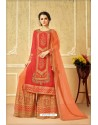 Beautiful Red Faux Georgette Embroidered Palazzo Suit
