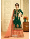Amazing Dark Green Embroidered Palazzo Suit
