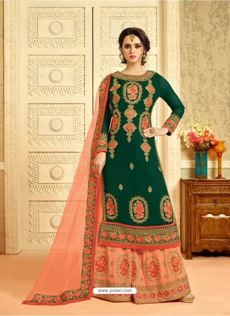 Buy Amazing Dark Green Embroidered Palazzo Suit Palazzo Salwar Suits