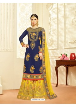 Adorable Navy Blue Faux Georgette Embroidered Palazzo Suit