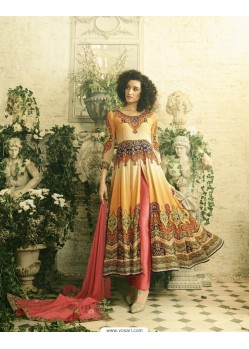 Amazing Orange Crepe Anarkali Suit