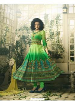 Splendid Green Crepe Anarkali Suit