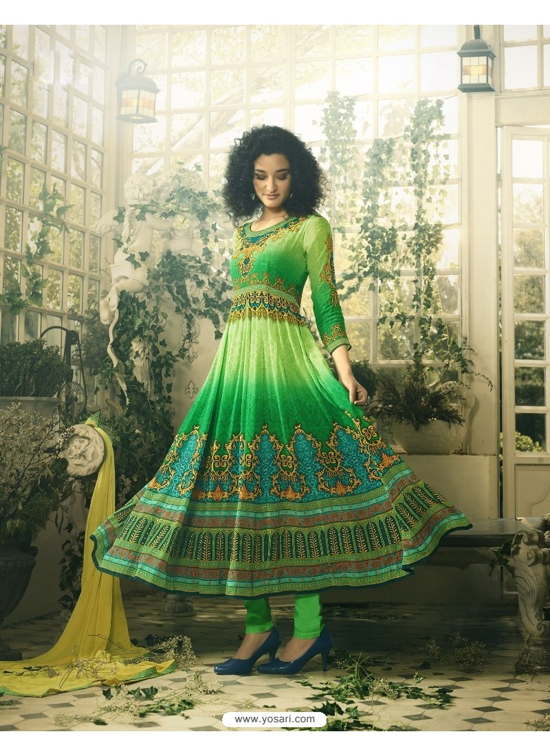 Splendid Green Crepe Anarkali Suit
