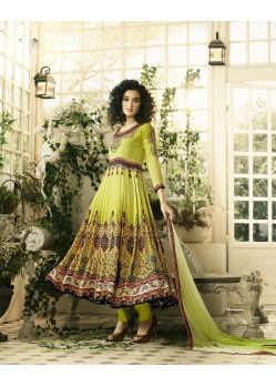 Designer Lemon Crepe Anarkali Suit