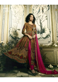 Adorable Brown Crepe Anarkali Suit
