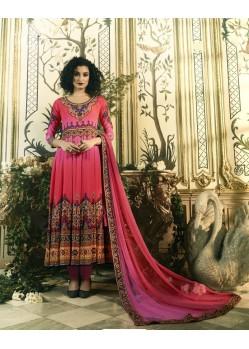 Modish Pink Crepe Anarkali Suit