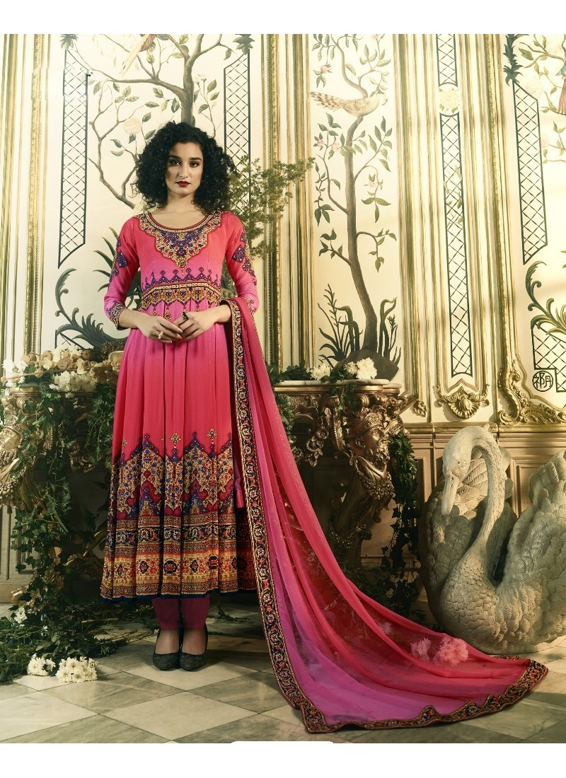 Modish Pink Crepe Anarkali Suit