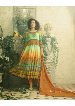 Adorable Multi Colour Crepe Anarkali Suit