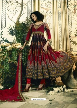 Astonishing Maroon Crepe Anarkali Suit