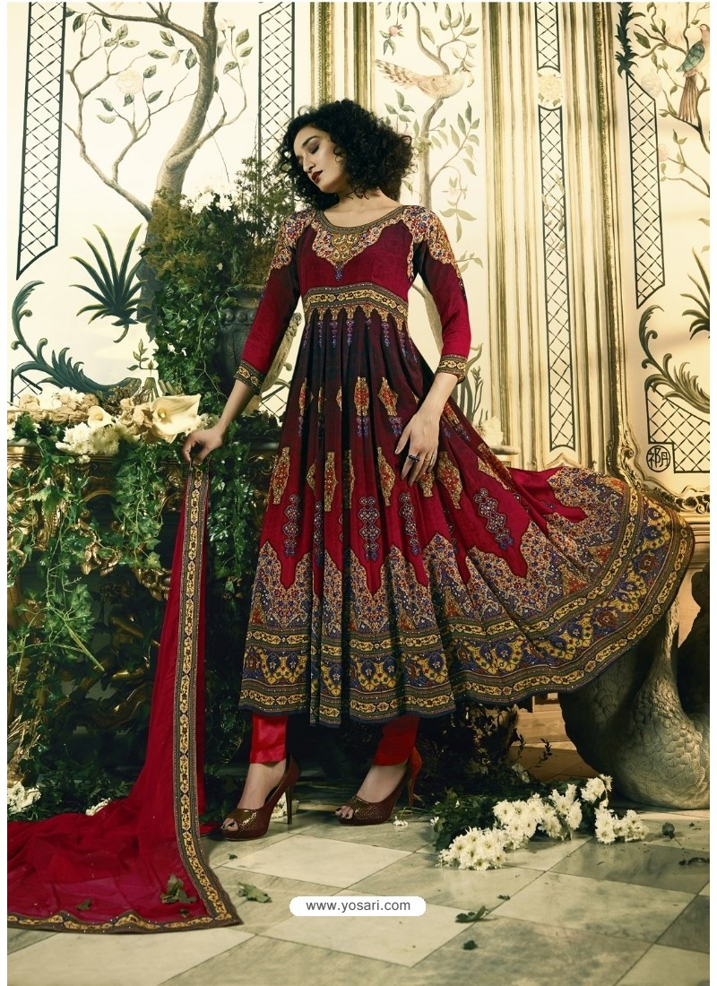 Astonishing Maroon Crepe Anarkali Suit