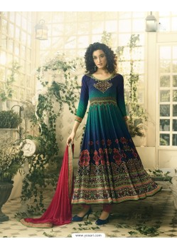 Incredible Navy Blue Crepe Anarkali Suit