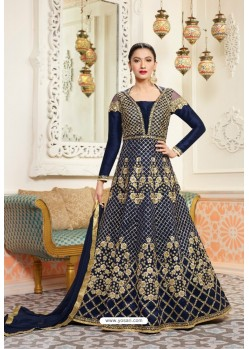 Embroidered Navy Blue Floor Length Suit