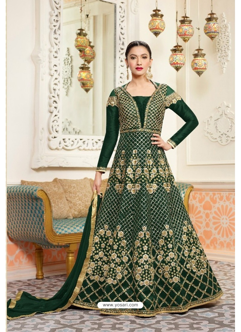 Teal Embroidered Floor Length Suit