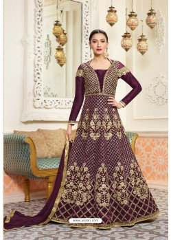 Designer Maroon Embroidered Floor Length Suit