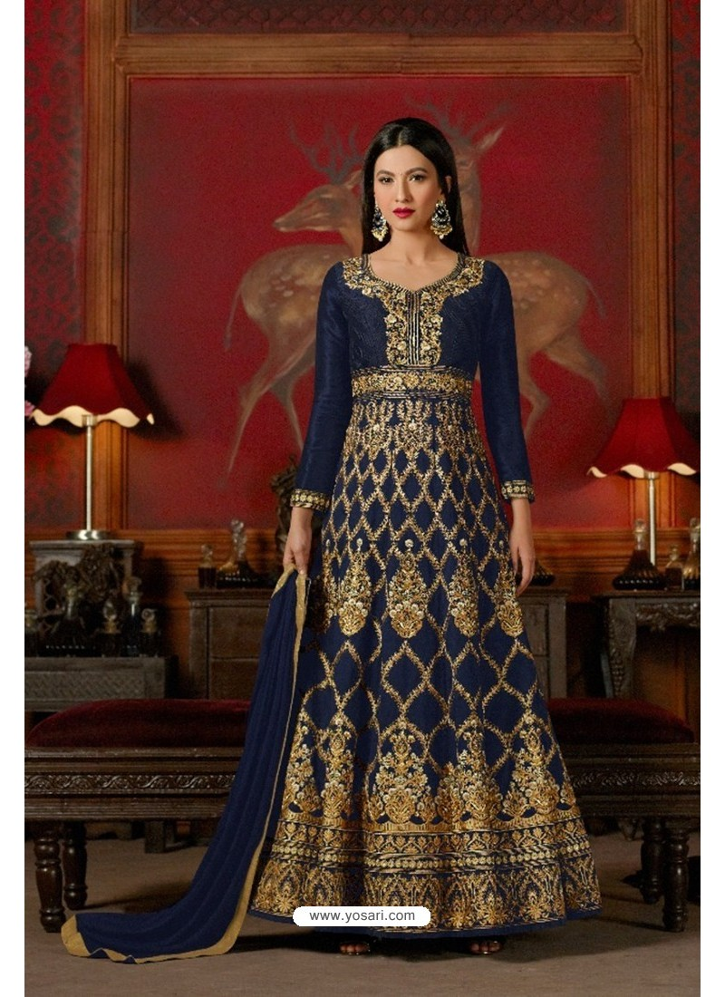 Fabulous Navy Blue Embroidered Floor Length Suit