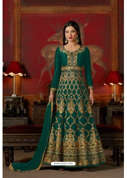 Dark Green Embroidered Floor Length Suit